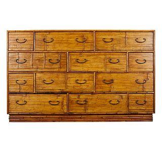 12 Drawer Split Bamboo Bureau
