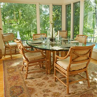 Bamboo Breakfast Table w/ 7 Chairs