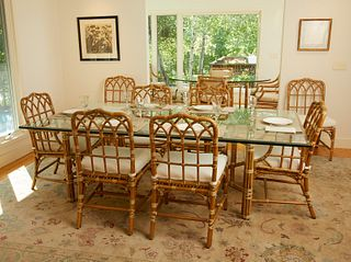 Bamboo Dining Table w/ 8 Chairs