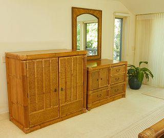Bamboo and Rattan Bedroom Set 3 Pcs