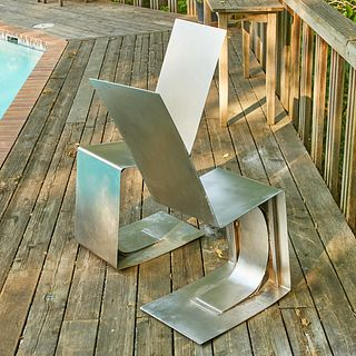 Pair of Modernist Stainless Steel Seats