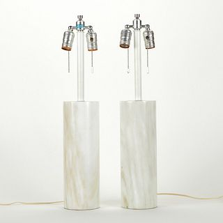 Pr: Nessen Marble Cylinder Table Lamps