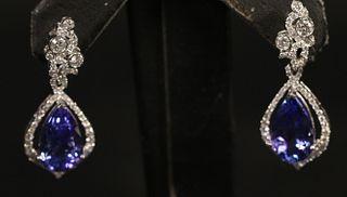 PLATINUM 7.06CT TANZ & 0.92CT DIAMOND EARRINGS