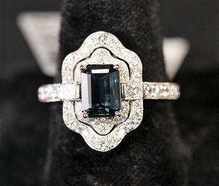 PLATINUM 1.18CT SAPPHIRE & 0.81CT DIAMOND RING