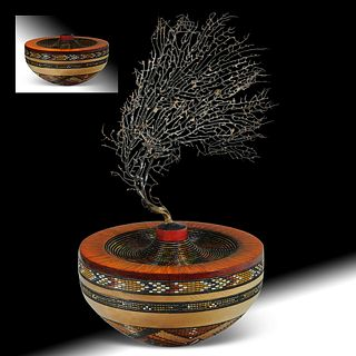 """Angels' Fire - 8.5""""d x 7""""h (vessel); branch adds 9-10""""h depending on how installed;  turquoise inlay."""
