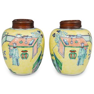 Pair of 18th Cent. Doucai Porcelain Jars with Wood Covers