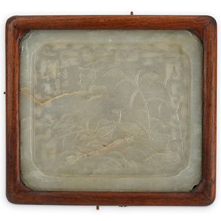 18th Cent. Celadon Jade Tray with Wood Frame