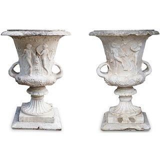 Pair Of Antique Neoclassical Carrara Marble Urns