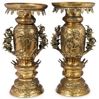 Pair of Japanese Ornate Bronze Pedestal Planters