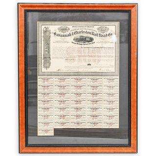 Savannah & Charleston Railroad Co. Bond Sheet