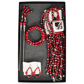 Chinese Red Coral, Pearl and Silver Jewelry Suite