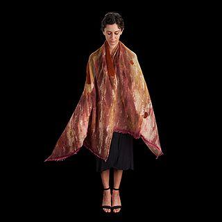Merino wool Scarf with Skin Fur