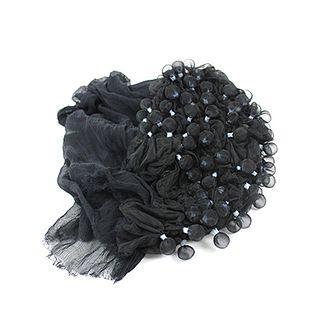 Shibori- Pleated Silk Shawl- Black & midnight color