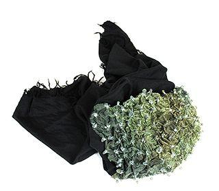 Shibori- Pleated Cashmere Shawl- Green & midnight color