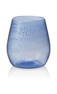 """Stemless Wine"" drinking glass (blue)"