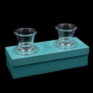 Par de portavelas. Eslovenia. SXX. Elaborados en cristal Tiffany & Co. En caja original.