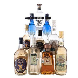 Lote Tequila. Leyenda del Milagro. 1800. Espolón. En presentaciones de 700 ml., 750 ml. Total de piezas: 10.