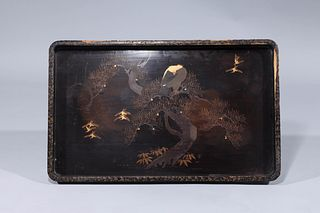 Large Antique Japanese Lacquer Tray