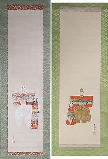 Two Japanese Ink & Color on Paper Paintings