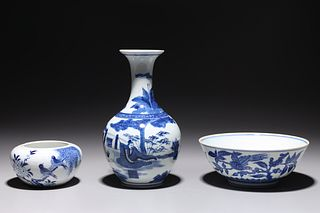 Three Various Blue & White Chinese Porcelains