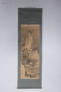 Two Japanese Ink & Color Paintings Mounted as Scrolls