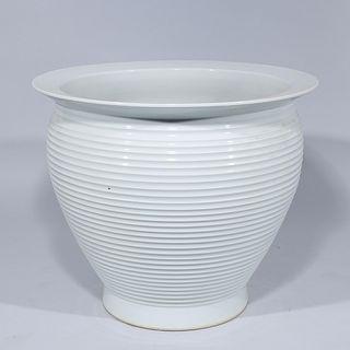Large Chinese White Glazed Porcelain Jardiniere