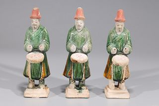 Group of Three Chinese Ming Dynasty Glazed Pottery Musicians