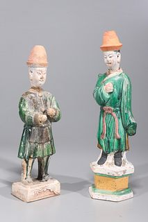 Two Chinese Ming Dynasty Pottery Attendants