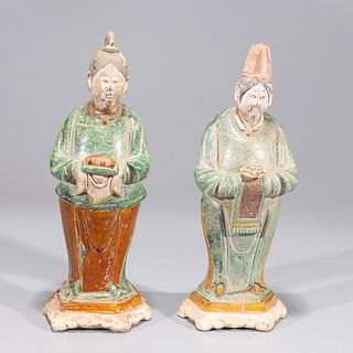 Pair of Chinese Ming Dynasty Glazed Pottery Figures