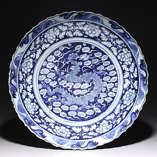 Large Chinese Blue & White Ming Style Porcelain Charger