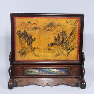 Large Antique Chinese Painted Table Screen