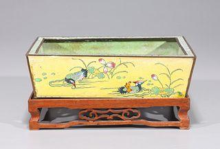 Antique Chinese Enamel on Copper Brush Washer