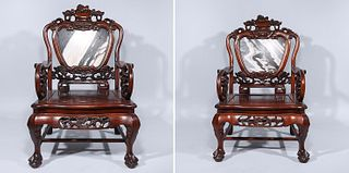 Two Chinese Carved Hardwood Marble Inset Armchairs
