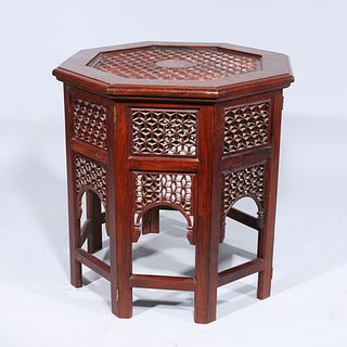 Indian Carved Wood Octagonal Table