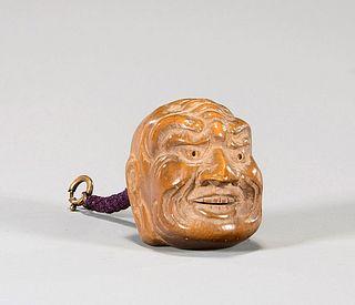 Antique Wood Mask Netsuke