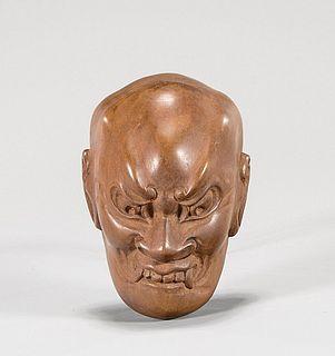 Large Old Wood Mask Netsuke