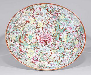 Large Chinese Mille Fleur Famille Rose Enameled Porcelain Charger