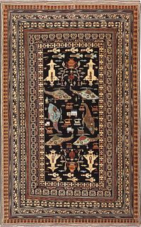 SMALL VINTAGE AFGHAN WAR RUG. 6 ft 5 in x 4 ft 1 in (1.95m x 1.24m).