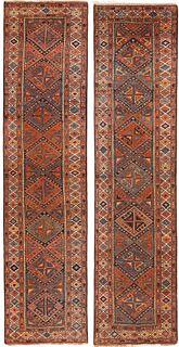 PAIR OF ANTIQUE PERSIAN KURDISH RUNNERS. - No reserve. 13 ft 1 in x 3 ft 2 in (3.98m x 0.96m) + 13 ft 3 in x 3 ft 2 in ( 4.03m x 0.96m).