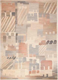 VINTAGE SWEDISH KILIM RUG SIGNED 'MN', MONICA NILSSON. 15 ft 10 in x 11 ft 9 in (4.82m x 3.58m).