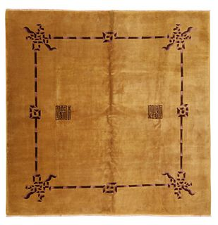 ANTIQUE ART DECO CHINESE CARPET - No reserve. 9 ft 10 in x 9 ft 9 in (2.99m x 2.97 m)