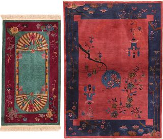 TWO ANTIQUE CHINESE ART DECO RUGS - No reserve. 4 ft 6 in x 2 ft 6 in (1.37m x 0.76m) + 5 ft 9 in x 4 ft 1 in (1.75m x 1.24m)