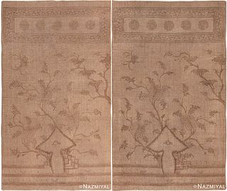A PAIR OF ANTIQUE MONGOLIAN FLAT WEAVES. 8 ft 8 in x 5 ft 2 in (2.64 m x 1.57 m) + 8 ft 8 in x 5 ft 2 in (2.64 m x 1.57 m).
