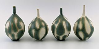 Set of Four Green and Near-White Vessels
