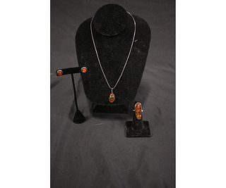 STERLING SILVER NATURAL AMBER 3PC JEWELRY SET