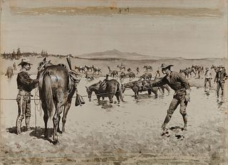 FREDERIC REMINGTON, (American, 1861-1909), Watering the Horses in a 'Dobe Hole, 1894-95