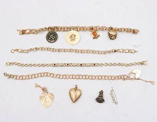 Four 14K Yellow Gold Link Bracelets
