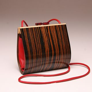 """""""Myrica""""  Wood Minaudiere in Macassar Ebony with Red Leather"""