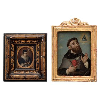 LOTE DE DOS IMÁGENES MÉXICO, SIGLO XVIII Óleo sobre lámina San Agustín: 27 x 20 cm  Santo Tomás de Aquino: 11 x 8 cm