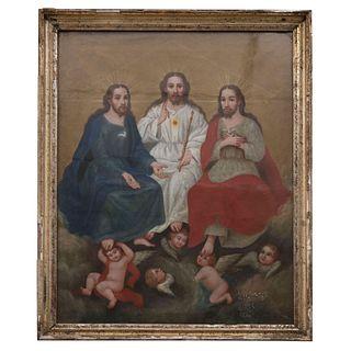 ATRIBUIDO A JOSÉ MARÍA MARES (BARCELONA, 1804-1875) TRINIDAD ANTROPOMORFA Óleo sobre tela 56 x 46 cm